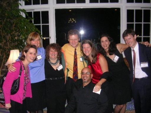Helen (Willey) Widlansky, Hillary Bogner, Amy (Friedman) Jakob, Mike Sasloff (Jackie's husband), Adam Hausman, Jackie Goldman Sasloff, Jordana Starr, Mike Riley (Hillary's husband)